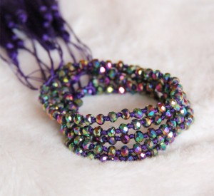 Crystal Beaded Bracelets Purple