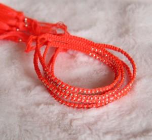 Woven Bracelets Orange Silver