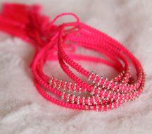 Woven Bracelets Pink Silver