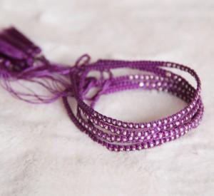 Woven Bracelets Purple Silver