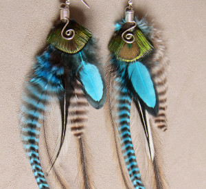 Blue Peacock Feather Earring