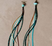 Turquosie Princess Long Feather Earrings